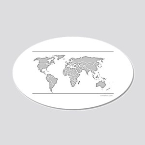 GEOGRAPHY/WORLD MAP 22x14 Oval Wall Peel