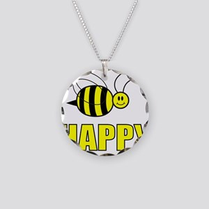 BEE HAPPY Necklace Circle Charm