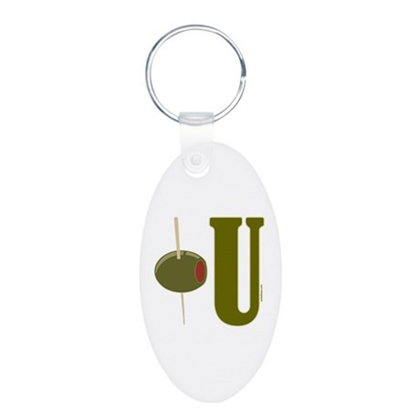 OLIVE U (I LOVE YOU) Aluminum Oval Keychain