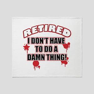 Funny retired Throw Blanket
