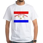 Rebuild New Orleans Flag White T-Shirt