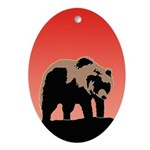 Sunset Grizzly Bear Oval Ornament