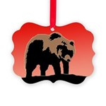 Sunset Grizzly Bear Picture Ornament