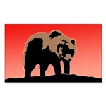 Sunset Grizzly Bear Sticker (Rectangle)