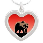 Sunset Grizzly Bear Silver Heart Necklace