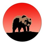 Sunset Grizzly Bear Round Car Magnet