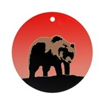 Sunset Grizzly Bear Round Ornament