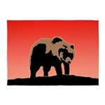 Sunset Grizzly Bear 5'x7'Area Rug