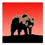 Sunset Grizzly Bear Square Car Magnet 3