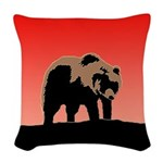 Sunset Grizzly Bear Woven Throw Pillow