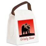 Sunset Grizzly Bear Canvas Lunch Bag