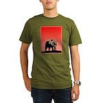 Sunset Grizzly Bear Organic Men's T-Shirt (dark)
