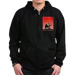 Sunset Grizzly Bear Zip Hoodie (dark)