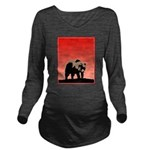 Sunset Grizzly Bear Long Sleeve Maternity T-Shirt