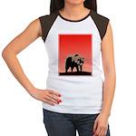 Sunset Grizzly Bear Junior's Cap Sleeve T-Shirt