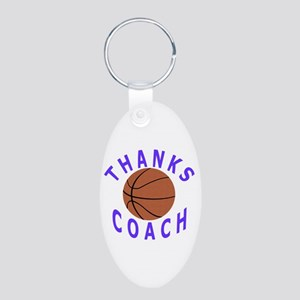 Thanks Basketball Coach Aluminum Oval Keychain
