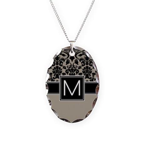 Monogram Letter M Necklace Oval Charm