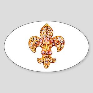 Jeweled Fleur de lis Oval Sticker