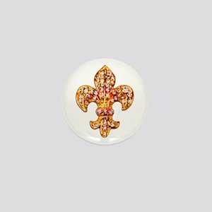 Jeweled Fleur de lis Mini Button