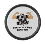 Girls Gun Show Large Wall Clock