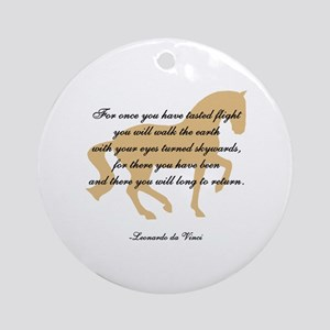 da Vinci flight saying - horse Ornament (Round)