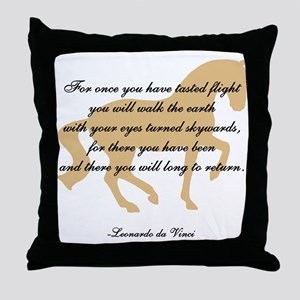 da Vinci flight saying - horse Throw Pillow