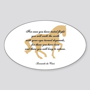 da Vinci flight saying - horse Oval Sticker
