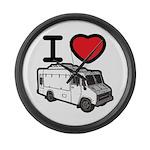 I Love Food Trucks! Large Wall Clock