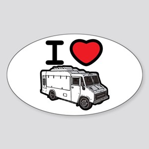 I Love Food Trucks! Sticker (Oval)