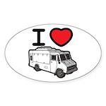 I Love Food Trucks! Sticker (Oval 10 pk)