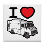 I Love Food Trucks! Tile Coaster
