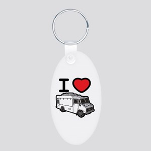 I Love Food Trucks! Aluminum Oval Keychain
