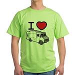 I Love Food Trucks! Green T-Shirt
