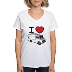 I Love Food Trucks! Women's V-Neck T-Shirt