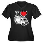 I Love Food Trucks! Women's Plus Size V-Neck Dark
