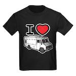 I Love Food Trucks! Kids Dark T-Shirt