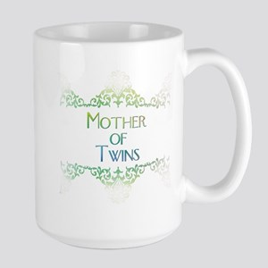 mother of twins decorated col Large Mug
