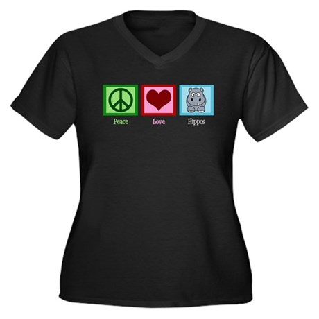 Peace Love Hippos Women's Plus Size V-Neck Dark T-