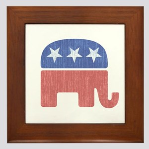 Old Republican Elephant Framed Tile
