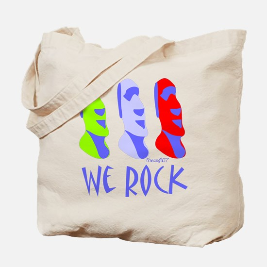 Moai We Rock in Purple Tote Bag