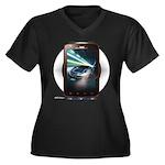 Mobile Phone Women's Plus Size V-Neck Dark T-Shirt