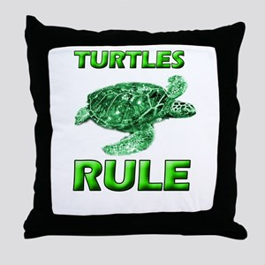 Turtles Rule Throw Pillow