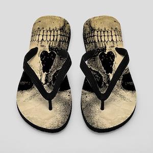 Antique Vintage Skull Flip Flops