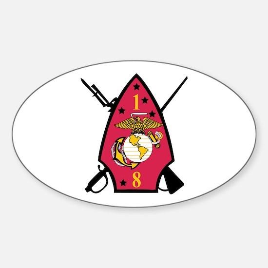1st Battalion - 8th Marines Sticker (Oval)