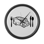 Food Truck Plate & Utensils Large Wall Clock