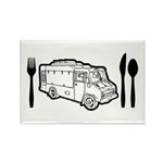 Food Truck Plate & Utensils Rectangle Magnet (100