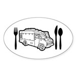 Food Truck Plate & Utensils Sticker (Oval 50 pk)