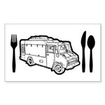 Food Truck Plate & Utensils Sticker (Rectangle 50