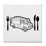 Food Truck Plate & Utensils Tile Coaster