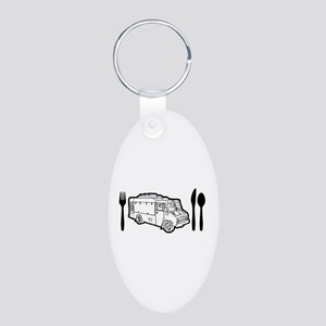Food Truck Plate & Utensils Aluminum Oval Keychain